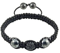 12pcs/lot black colour Shamballa Bracelets jewelry Wholesale New Shamballa Bracelets Micro Pave CZ Disco Ball Bead B0057