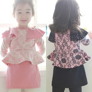 Flower fountains one-piece dress 2012 autumn baby child girls clothing 4895(China (Mainland))