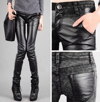 New Arrival free shipping wholesale high quality Korean 2012 new fashion Jeans PU leather pants women Trousers