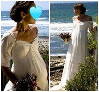 2013 Latest  custom made  short sleeve  floor- length A-line  fashion white maternity wedding dress