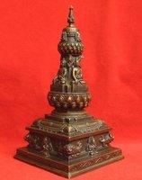 "Tibetan Bronze Stupa dagoba Buddha Statue 7.5""H A  free shipping"