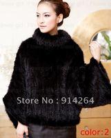100% Real Genuine Knit Mink Fur Coat Jacket Outwear Women 2 Colors Winter Deluxe  /free shipping