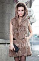 100% Real Genuine Rabbit Fur Vest Gilet Waistcoat Jacket Outwear Women Clothing  /free shipping