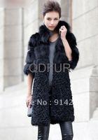 Women Long Real Fox And Lamb Fur Coat Jackets Elegance Outwear Garment  size :S-XXL/free shipping