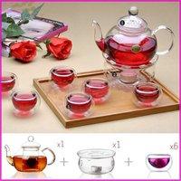 Aliexpress High Temperature Resistance glass tea set  Glassware 1pc Teapot 600ML 6pcs double wall mugs 1pc candle base a set