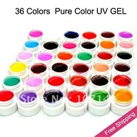 Free Shipping 36 Colors Glitter Powder UV Gel Nail Gel For Nail Art Tips Extension With Retail Box Shipment At Soon
