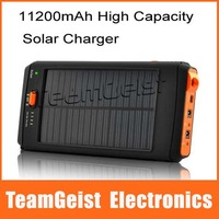 Free Shipping 11200mAh High Capacity Portable Solar Charger and Battery with Flashlight , Suitable for Laptops + USB Devices