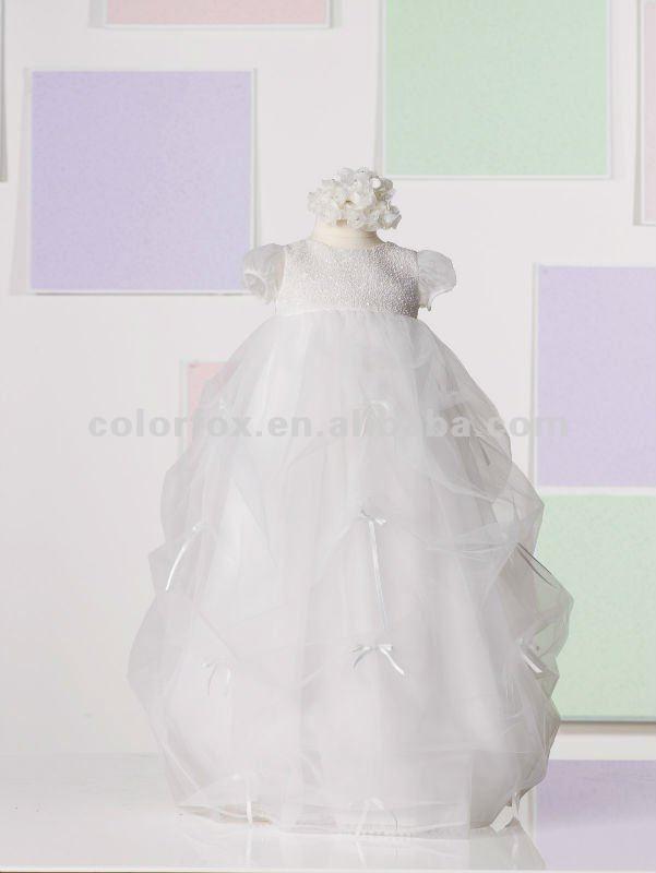 Puff Sleeves Pick up Dress with Ribbon Bows Baby Christening Dress(China (Mainland))