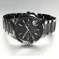 Free Shipping Quartz Movement Mens Black ceramic Watch With Original box And Certificate Model AR1452
