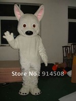 Adult Size Lovely White Bull Terrier Dog Mascot Costume Halloween Cartoon Party Plush toy Fancy Dress Suit Free Shipping
