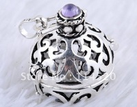 Cage Pendant CP013, Wholesale 1pc Fashion design Copper Silver plated Cage Pendant for Ladies, size 20mm