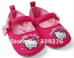 3pairs/lot Free shipping wholesale Hot selling hello kitty Anti slip baby princess shoes rose pink(China (Mainland))