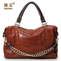 Hot selling 2013 fashion embossed leather  crocodile pattern chain portable shoulder cross-body women's cow leather handbag