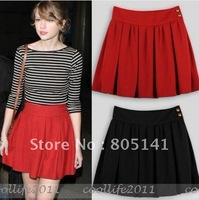 Free Shiping Above knee skirt Fashion women girl Vintage Ruffle Pleated Skirt black red color