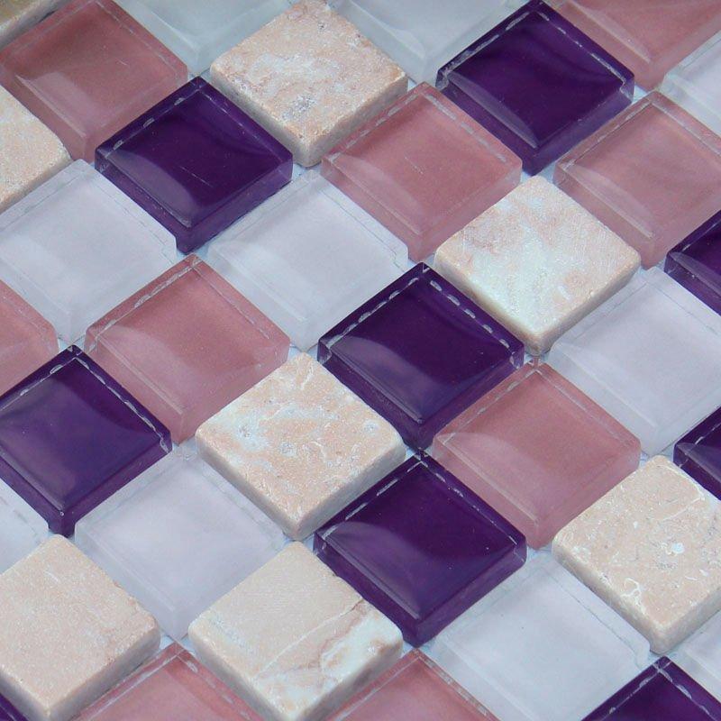 Stone glass tile square cream white purple pattern wall - Purple kitchen wall tiles ...