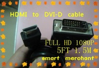 FREE OF SHIPPING 1.5M 5FT  HDMI to DVI-D cable.24+1 male DVI to HDMI cable. for LCD ,TV,HD PC monitor