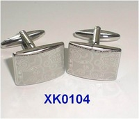 Laser decorative pattern electroplating cufflinks,   Fun metal cufflinks, men's cuff links, Fun cuff links   XK0104
