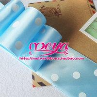 Divisa ribbon hair accessory material 38mm 3.8cm polka dot ribbon blue white