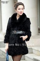 2012 New Women Real Rex Fur Long Slim Coat Winter Warm Flower Trimed Outwear   /free shipping