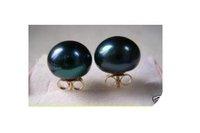 savageness south sea AAA 12-13 mm black pearl earring 14K