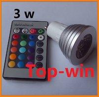 LED 3W RGB spotlight GU10 Remote Control RGB Flash LED Spot Light BULB LAMP topwin