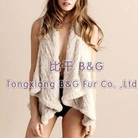 BG21918 Sexy Style 2012 Knitted Rabbit Fur Gilet Winter Female Vest 3 Colors Hot Sale OEM Wholesale Retail