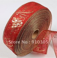 Christmas tree decoration gift red gold print christmas tree decoration ribbon free shipping