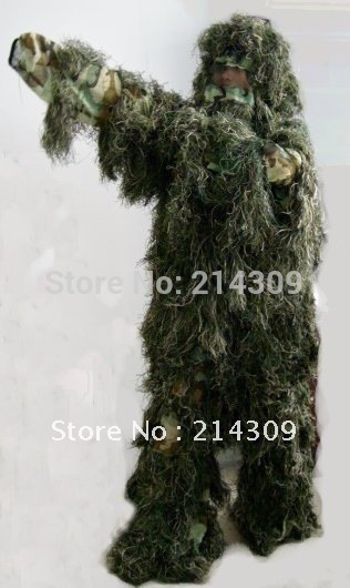 Ghillie Poncho Kit Paintball hide Hunt Suit Woodland(China (Mainland))