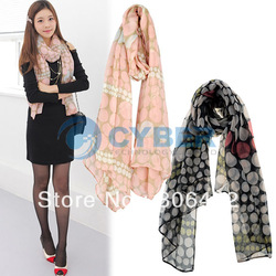 Holiday Sale New Fashion Women's Ladies Polka Dots Prints Scarf Shawls Size 185 X 80cm Free Shipping 7783(China (Mainland))