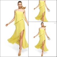 Brilliant yellow lined straight high-low designer women evening dresses