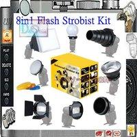 New 8 in 1 Universal Camera Flash Strobist Set flashgun Accessory Kit adapter Softbox diffuser for speedlight YN565EX 580 600EX
