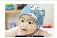 Free shipping  Cartoon Bear patch child sets head warm cotton hat