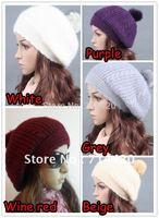 AC010 Womans Rabbit fur cap knitted cap beret winter cap gorro beret