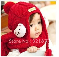 Free shipping  Winnie ear baby wool knit hat scarf two piece set