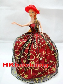 Free Shipping Elegant Red&Black Wedding Party Doll Dress Clothes with Hat+GlovesFor Barbie Doll