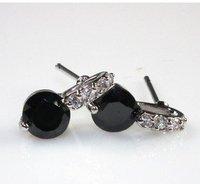 A88735 Fashion black/purple  zircon 18kt white gold filled Stud earrings free gift Zircon earrings