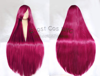 wine red long straight hair 1 meters 100cm high temperature wire cosplay wig