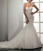 2013 New Mermaid Organza Alencon lace Beading Sparkle Royal Wedding Dresses WD92012