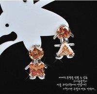 Fashion champagne zircon 18kt white gold filled Stud earrings free gift A88737 Zircon earrings