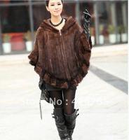 60-65CM Length Real Genuine Fashionable Women Warm Knitting Mink Fur Poncho Stole Cape Wrap/Shawl Femail Winter Style/ EMS Free