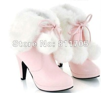 2012 ne fashion Free shipping Women's fur motorcycle boots , womens high heel snow boots for women size US 4.5- 10.5