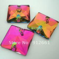 Free shipping (54pcs per lot) volcano color Square rhinestone embellishment sew on stone size 16*16mm