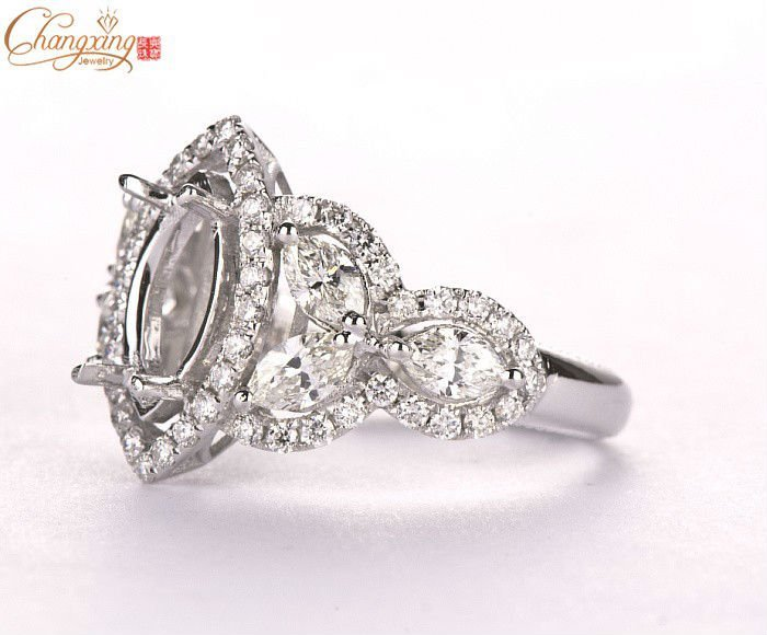 MARQUISE 5x10mm SOLID 18KT 750 WHITE GOLD SEMI MOUNT SETTING ENGAGEMENT RING