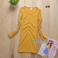 Free Shipping Autumn new arrival slim o-neck long-sleeve T-shirt long design slim hip basic shirt female
