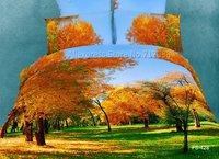 hometextile 3D oil painting orange maple leaves green grass pattern cotton duvet comforter cover 4pc Queen/full bed bedding sets