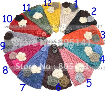 10 pcs/Lot  New Style Crochet Headband Hair Band Knitted Flower Button UNIQUE Headwrap