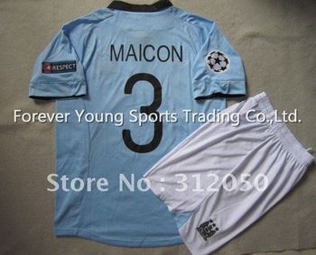 2012 UCL champions league soccer jerseys Man City home blue jersey football unifrom kits  shirts #3 Maicon