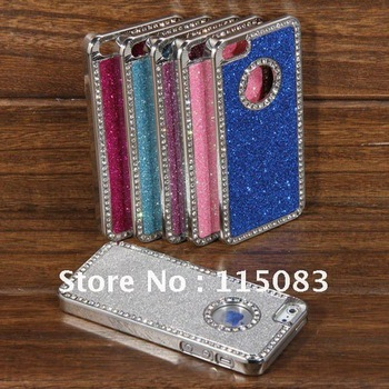 For iPhone 5 Luxury Case,Glitter Bling Crystal Diamond Deluxe Chrome Hard Cover Case + Stylus Pen For iPhone 5 5G,Free Shipping