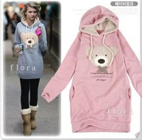Free Shipping Women's Cute Teddy Bear Hoodies Long Style Pullover Casual Sweatshirts Coat FWO10064