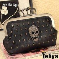 skull bag female punk rivet skull envelope bag day clutch cross-body bag k018